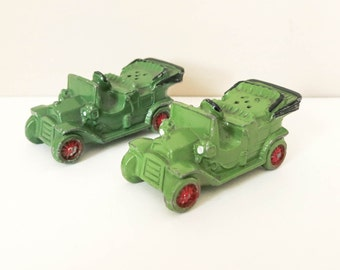 1950's Metal Cars Salt and Pepper Shakers - Christmas Putz - Miniature Green Ford Model T - Man Cave or Boy's Room Decor - Stocking Stuffer
