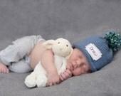 Baby Boy Hat, Personalized, BABY ANNOUNCEMENT, New Baby, Monogram, winter hat, Knit Baby Hat, Preemie hat, baby girls hat, hat, Preemie/4T