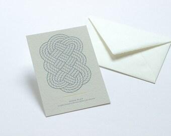 Letterpress Knot Postcard - Ocean Plait.
