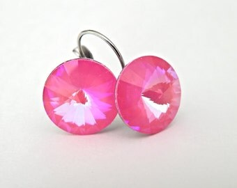 Hot Pink Dangle Earrings, Pink Swarovski Earrings, Fuchshia Crystal Rivoli Drop Earrings, Bridesmaids Jewelry, Hypoallergenic Earrings