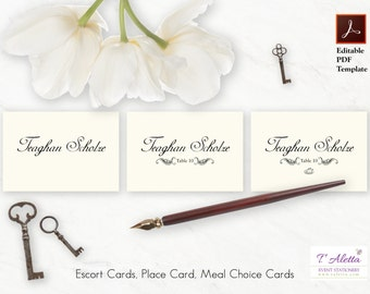 Wedding Place Card Template, Place Card Template Download, Classic Place Card Template, Elegant Wedding Place Card Printable - TEAGP15-T