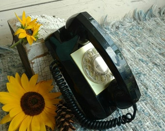 Mid Century Rotary Wall Phone - Vintage Working Telephone in a Jet Black, Dial My Number, Telephone That Dials, Retro Kitchen Phone