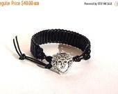 Clearance Sale Onyx - Unisex - Leather Cord Bracelet - Shaman Button Clasp