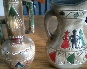 Vintage Folk Art Clay Pitcher and Vase