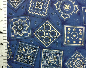 Blue Bandana print fabric by the yard, 100% Cotton