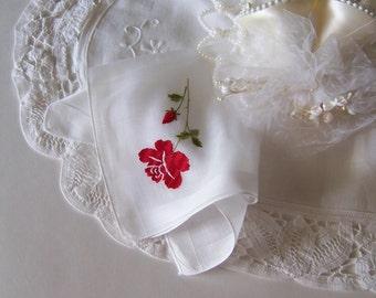 Wedding Handkerchief Antique Mother of the Bride or Groom Bridesmaid Gift Bride's Vintage Hanky Red Rose