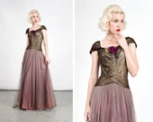 RESERVED Vintage 1940s Gold Lamé and Tulle Evening Gown