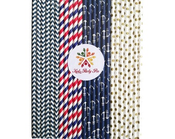 Free shipping paper straws navy stripe paper straws anchor 19.7cm L 4 colors U pick 100pcs