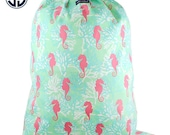 Monogrammed Simply Southern Seahorse Laundry Bag / Personalized Simply Southern Laundry Bag / Camp Laundry Bag / College Dorm laundry Bag