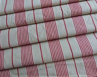 Vintage linen mattress ticking French ticking stripe fabric w red ecru striped mattress toile patchwork sewing supply textile supplies