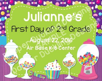 """Personalized First Day of School Announcement Sign Printable 8""""x10"""" - Candy"""