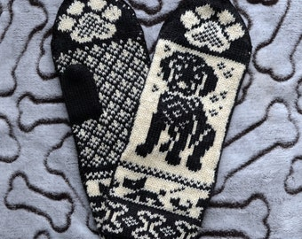 NORWEGIAN Hand Crafted 100% wool  mittens  , M / L, folk art, black labrador dog puppy
