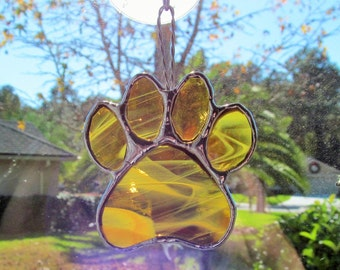 """Stained Glass Paw Print """"Paws To Remember"""" - Amber Stained Glass Suncatcher or Memorial Marker - Unique Smaller size"""