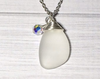 Sea Glass Necklace Stocking Stuffer Christmas Gifts Bridesmaid Necklace Beach Jewelry Nautical