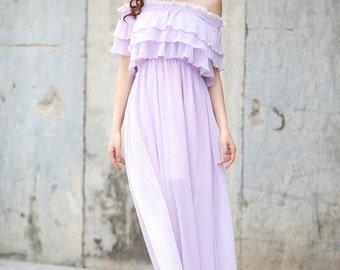 Light Purple Beach Dress , Chiffon Party Dress, Bridesmaid Dress - NC731