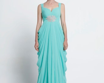On Sale Size XXS Mint Green Wedding dress/Silk Chiffon party dress - NC641-3