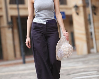 On Sale Size XS New Design Casual Wide Legs Long Cotton Pants in Dark Purple Grey- A007-1