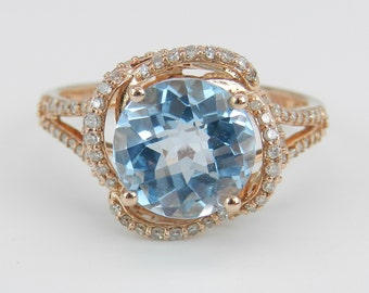 Rose Pink Gold Diamond and Blue Topaz Halo Engagement Promise Ring Size 7.25