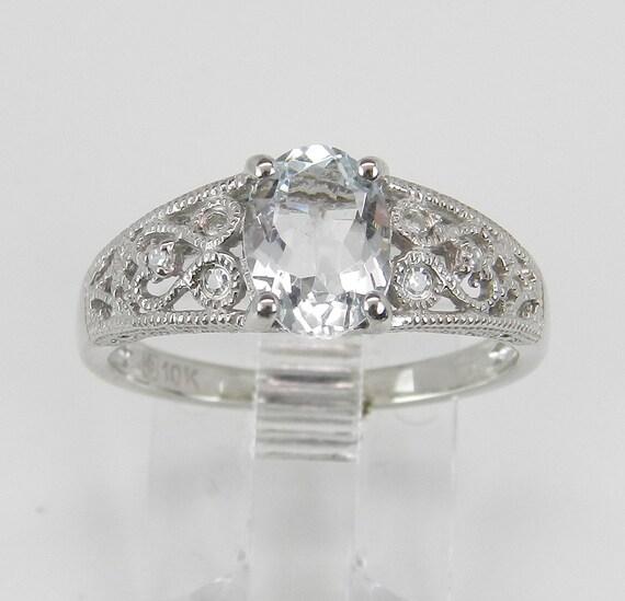 Diamond and Aquamarine Promise Engagement Ring Aqua White Gold Size 6.5 March Gem