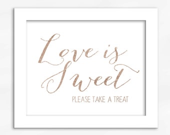 Candy Buffet Print in Rose Gold Foil Look - Faux Metallic Calligraphy Wedding Reception Sign for Favors or Dessert Table (4002)