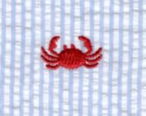 Fabric Finders Embroidered crabs on blue Seersucker