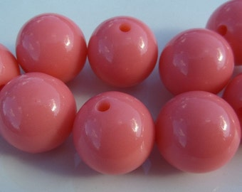 20mm, 10CT.  Pale Pink, Pale Coral, Gumball Beads, Beads, Bubblegum Beads, 20mm Chunky Beads, B8