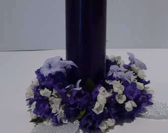 Candle Ring Purple Floral Tapered
