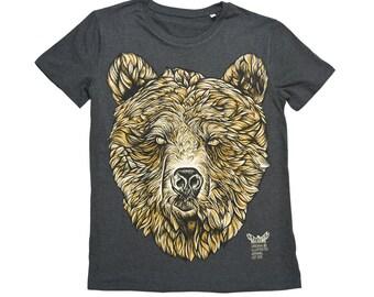 BEAR t shirt graphic tee illustrated t-shirt mens t shirt unisex black heather tee organic t shirt
