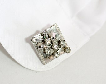 Wedding Cuff links, Handmade with Vintage Jewelry, Grooms Cuff Links, Vintage Wedding Jewelry, Silver Cuff Links, Cuff Links, Grooms Gift