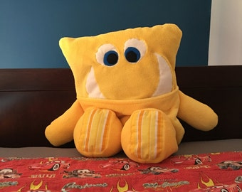 Yellow Plush PAJAMA EATER Monster- Ready to Ship!  **Soft cuddle fabric - Great gift for a child, teenager, or get well gift!