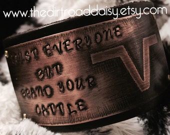 Custom cattle brand bracelet, custom ranch brand bracelet