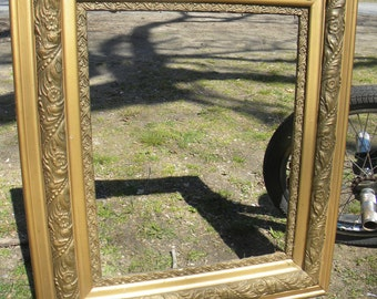nice shape antique gesso and wood LARGE PICTURE FRAME