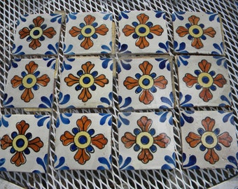 12 nice vintage antique 1940s or older CATALINA hand painted FLORAL TILE  c3