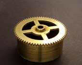Large Brass Cylinder Gear, Mainspring Barrel from Vintage Clock Movement, Vintage Clockwork Mechanism Parts, Steampunk Art Supplies 03900
