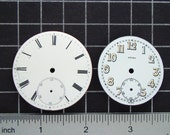 2 Antique Porcelain Pocket Watch Faces, Watch Dials, Mini Clocks, Vintage Watch Parts, Mixed Media Art and Steampunk Craft Supplies 04099