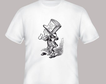 Alice in Wonderland Madhatter Vintage Book Illustration on Adult TShirt -- sizes S-5XL