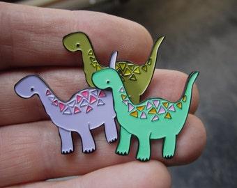 Enamel Dinosaur Pin - Olive Green Enamel Geometric Dinosaur Pin -  Young Brontosaurus PIn