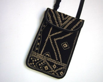 Cellphone Case fits iPhone 6 mobile cover smartphone neck pouch Crossbody Mini Sling Bag iPod wallet recycled fabric black coffee