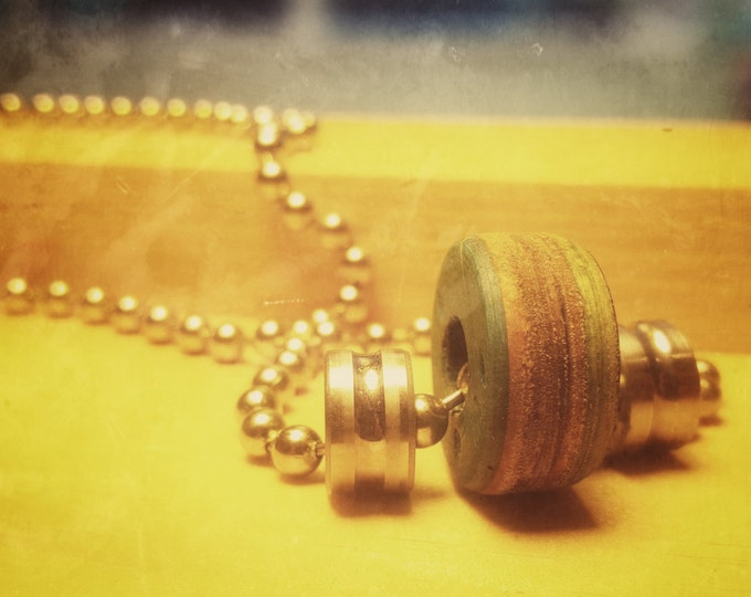 Skateboard Jewelry Necklace, Pendant on Ball Chain, Recycled Skateboard Deck Ring, Bearing Necklace 18in. Chain