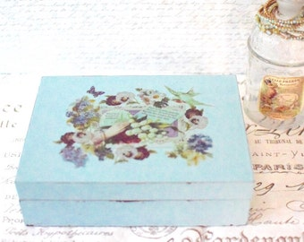 Vintage Jewelry Box Blue Handpainted Embellished Jewelry Box Armoire Shabby Cottage Jewelry Box