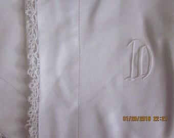 Pristine Antique  Linen Pillowcases -D- Monogram unique Valentine