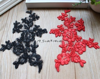 10pairs 19.5x14cm width white/black/ivory/red bridal wedding dress embroidery appliques patches gbt3 free ship