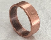 6mm Wedding Band - Raw Polished Copper Minimalist Ring - 7th Anniversary Unisex Jewelry