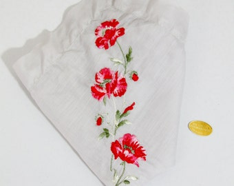 Vintage Grey Handkerchief Embroidered Red Flowers Switzerland NOS