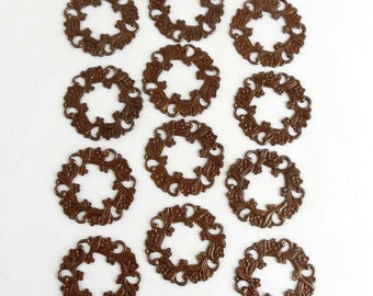 Brass Pierced Wreath, Floral Wreath, Jewelry Supplies, Jewelry Making, Chocolate Plated Brass, US Made, 26mm, B'sue Boutiques, Item06635