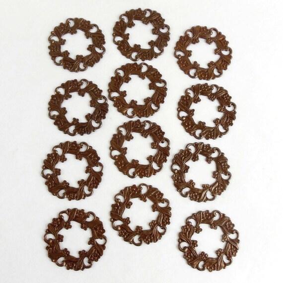 Brass pierced wreath floral wreath jewelry supplies jewelry making