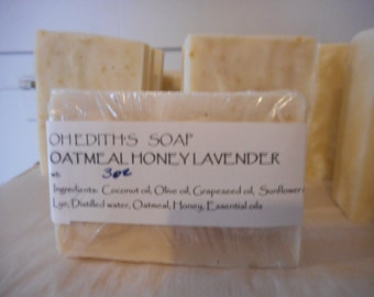 Handmade Herbal Oatmeal Soap/Honey/ Lavender