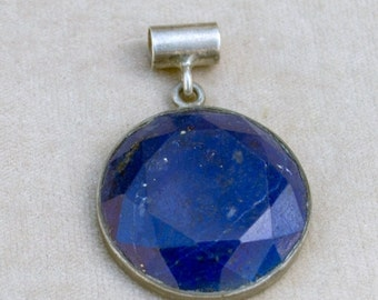 WINTER SALE Vintage Afghan Lapis Lazuli Faceted .925 Sterling Silver Pendant LF2 Jewelry Making Supply Uber Kuchi