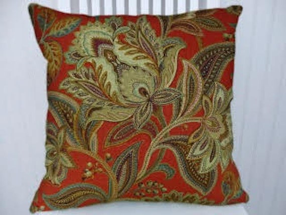Orange Gold Green Jacobean Floral Decorative Throw Pillow