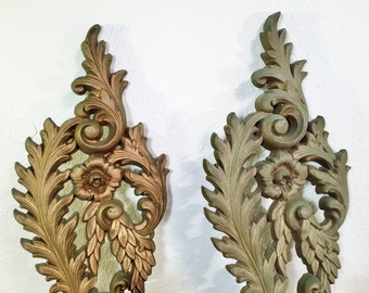 Antique Gold SCONCES Hollywood Regency